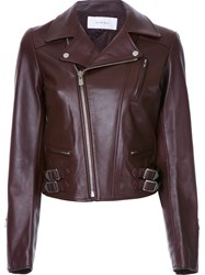 Le Ciel Bleu 'Lamb Leather Riders' Jacket Red