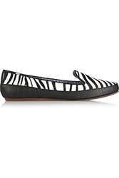Charles Philip Zebra Print Calf Hair Loafers Animal Print