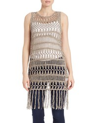 Bailey 44 Fringed Open Knit Vest Beige