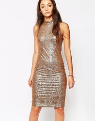 Rock And Religion Turtle Neck Bodycon Dress Tan
