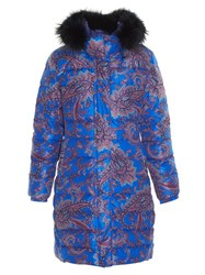 Etro Fur Trimmed Paisley Print Quilted Coat Blue