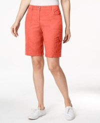 Karen Scott Solid Cargo Shorts Only At Macy's Fusion Coral