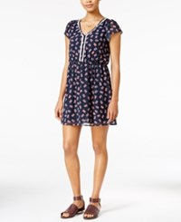 Maison Jules Printed Crochet Trim Fit And Flare Dress Only At Macy's Navy Stone Combo