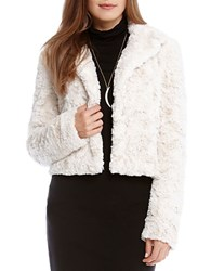 Karen Kane Cropped Faux Fur Jacket Natural