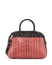 Milly Medium Mercer Watersnake Combo Dome Satchel Bag Fluorescent Coral