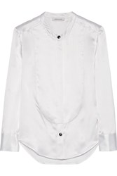 Balmain Mulberry Bib Front Silk Satin Shirt White
