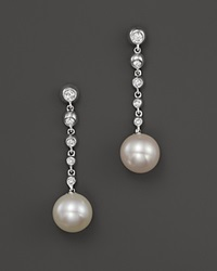 Bloomingdale's Cultured Freshwater Pearl Drop Earrings With Diamonds In 14K White Gold 8Mm