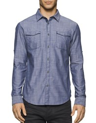 Calvin Klein Jeans Herringbone Military Shirt Medium Blue
