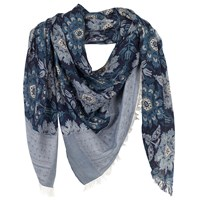 Fat Face Floral Damask Jacquard Scarf Navy