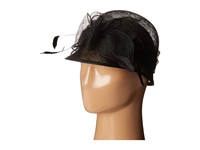 Scala Sinamay Cloche With Bow And Feathers Trim Black Caps
