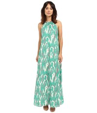 Adelyn Rae Halter Maxi Dress W Racerback Straps Green White Women's Dress