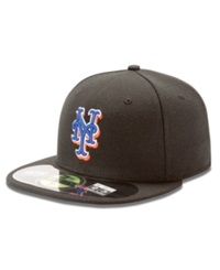 New Era Mlb Hat New York Mets On Field 59Fifty Fitted Baseball Cap Black