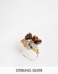 Katandbee Kat And Bee Wrapped Tiger Eye 14Ct Gold Filled Wire Ring Goldtigereye