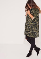Missguided Plus Size Hooded Camo Parka Jacket Khaki Beige