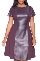 Plus Size Women's Eloquii Faux Leather And Ponte Dress