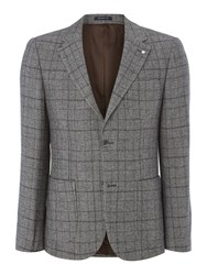 Peter Werth Men's Haviland Wool Mix Check Blazer Grey