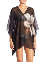 Carmen Marc Valvo Guilded Garden Caftan Coverup Black