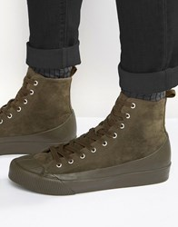 Asos Trainers In Khaki With Rubber Detailing Khaki Green