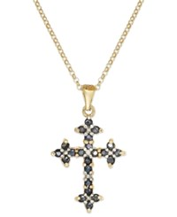 Victoria Townsend 18K Gold Over Sterling Silver Necklace Midnight Sapphire 3 4 Ct. T.W. And Diamond Accent Cross Pendant