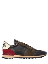 Valentino Rockstud Beaded Eagle Camo Sneakers