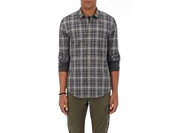 John Varvatos Men's Checked Cotton Dress Shirt Dark Grey