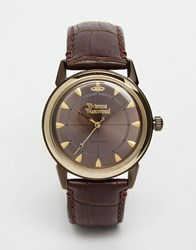 Vivienne Westwood Grosvenor Ii Leather Watch Vv064gdbr Brown