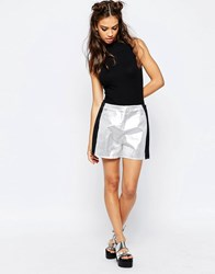 Jaded London Metallic Shorts Silver
