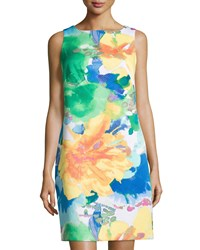 Donna Ricco Sleeveless Floral Print Sheath Dress White Multi