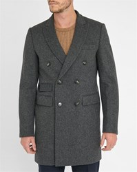 Gant Grey Double Breasted Notched Collar Wool Coat