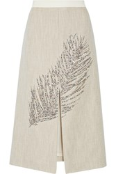 Tory Burch Caprica Embellished Linen And Silk Blend Midi Skirt White