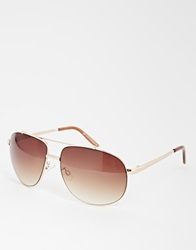 New Look Teardrop Aviator Sunglasses Dkbrown