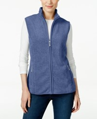 Karen Scott Fleece Zip Front Vest Only At Macy's Heather Indigo