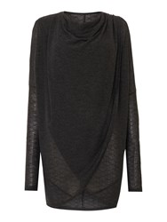 Label Lab Textured Wrap Over Cowl Knit Jumper Charcoal Marl