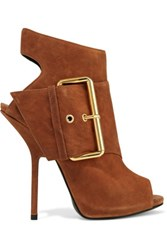 Giuseppe Zanotti Buckled Nubuck Ankle Boots Light Brown