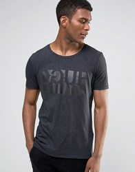 Hugo By Boss T Shirt Logo Print Charcoal Grey