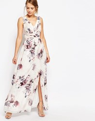 Little Mistress Plunge Front Chiffon Maxi Dress In Floral Nude Floral Pink
