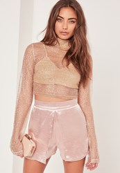 Missguided High Neck Glitter Crop Top Gold
