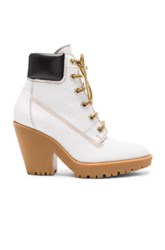 Maison Martin Margiela Leather Lace Up Booties In White