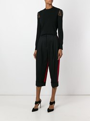 Dolce And Gabbana Cropped Stripe Detail Trousers Black