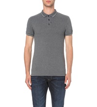 Replay Striped Trim Stretch Pique Polo Shirt Dk Grey