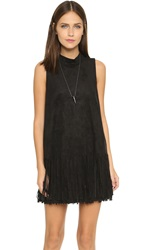 J.O.A. Fringe Mini Dress Black