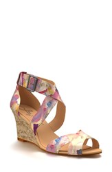 Shoes Of Prey Women's Crisscross Strap Wedge Sandal Water Color Floral Satin