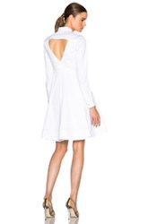 Calvin Klein Collection Fedra Stretch Compact Twill Shirt Dress In White