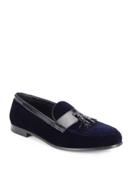 Giorgio Armani Textured Velvet Tasseled Loafers Navy