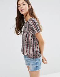 Vero Moda Folk Print Short Sleeve Top Multi White