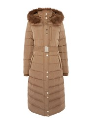 Linea Longline Down And Feather Padded Coat Camel