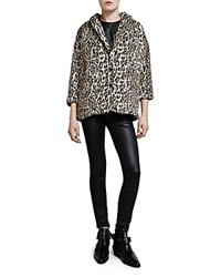The Kooples Leopard Faux Fur Jacket Black