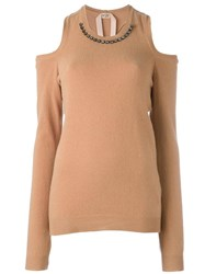 N 21 No21 Embellished Cold Shoulder Jumper Brown