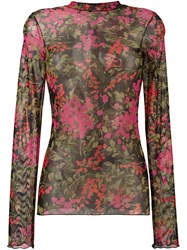 Ssheena Floral Print Sheer T Shirt Pink And Purple