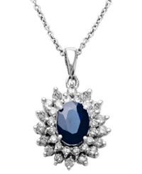 Effy Collection Royalty Inspired By Effy Sapphire 1 9 10 Ct. T.W. And Diamond 1 Ct. T.W. Two Row Oval Pendant In 14K White Gold Blue